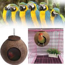 New Natural Coconut Shell Bird Nest House Hut Cage Feeder Pet Parrot Parakeet