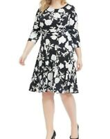 Sandra Darren Ruched Waist Floral Jersey Fit And Flare Dress Size 12