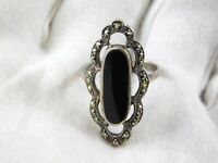 Vintage Marsala Marcasite and Black Onyx Sterling Silver Ring 925 Size 6.25