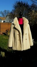 "Cream Pearl White Mink Coat FUR STROLLER Jacket ""Real fur"""