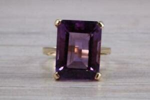 3.20Ct Emerald Cut Amethyst Women's Engagement Ring In 14K Yellow Gold Finish
