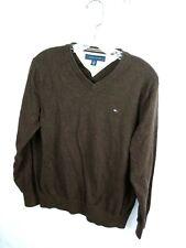 Tommy Hilfiger Mens Size Medium Brownish V-Neck Pull Over Cotton Sweater  M7