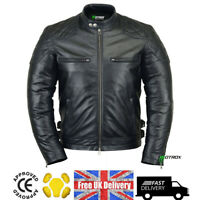 Men's Motorbike Leather Jacket Motorcycle 100% Cowhide With Free CE Armoured