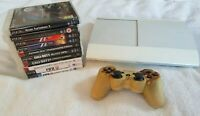 PS3 Playstation 3 Super Slim God Of War White Console + Controller CECH-4003C LW