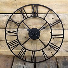 Large Skeleton Frame Black Metal Garden Wall Clock With Roman Numerals - 40 Cm