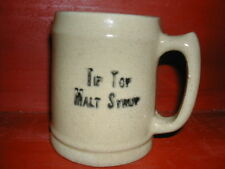 Advertising Stoneware Mug Tip Top Malt Syrup Early 1900's Original PA Yelloware