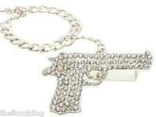 Hip Hop Urban 3 Finger Silver & Crystal Bling Pistol Gun Ring w/ Bracelet Leash