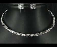 X011L Wedding Bridesmaid crystal necklace earring Prom GP Silver Jewelry gift