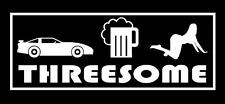 "Funny stickers threesome 9""x 3.5"" car decal"