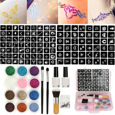 Body Nail Art Glitter Powder Stencils Glue Brushes Temporary Tattoo Paint Kits