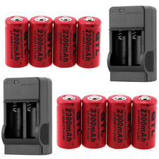 8x GTL CR123A 3.7V Li-ion 2300mAh Rechargeable 16340 Battery + 2x Charger us