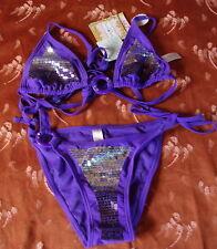 be4626f7a7 Soleil Sucré - maillot de bain 2 pièces violet et argent avec sequins T L  neuf