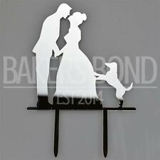 Mr & Mrs Pet Dog Silver Acrylic Wedding Day Cake Topper Silhouette Vintage Bride