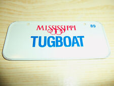 1989 Post Cereals - MISSISSIPPI TUG BOAT - Bicycle License Plate - EMBOSSED