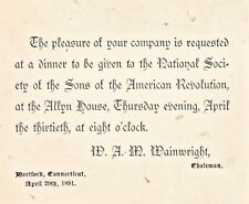 Invitation National Society Sons of American Revolution Dinner, Arpil 29, 1891