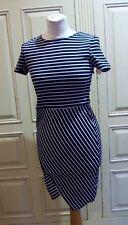 ZARA TRAFALUC S SMALL UK 10 BLACK WHITE STRIPE ASYMMETRIC DRESS BODYCON STRETCH