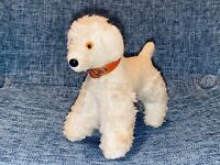 "4"" VINTAGE VERY OLD STEIFF MOHAIR POODLE TERRIER DOG STANDING GERMAN COLLAR 50's"
