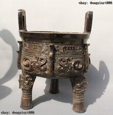 "16""Old Chinese Bronze 3 Leg Oxen Dragon Beast Handle Ding Incense Burner Censer"