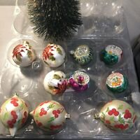 Lot of 10 Vintage Glass Christmas Ornaments Indents Hand Painted Glitter Bulbs
