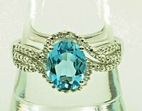 Sterling Silver 925 Solitaire Swiss Blue Topaz - Diamond Wave Cocktail Band Ring