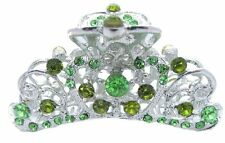 Silvertone Metal Green Peridot Crystal Rhinestone Hair Claw Clip