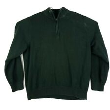 Mens 2XL Eddie Bauer 1/4 Zip Pullover Knit Long Sleeve Sweater Green Cotton