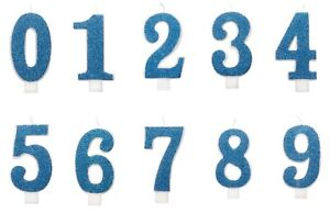 NUMBER AGE GLITTER CANDLE Birthday Cake All Age CANDLE BLUE Party Cake