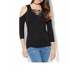 WOMENS NEW YORK & COMPANY NAVY GRAND SAPPHIRE LACE UP COLD SHOULDER TOP M