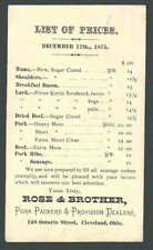 1875 Cleveland Oh Rose & Brothers Sells Ham Bacon Lard Beef Pork Ribs W/Prices