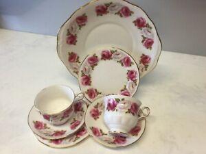 QUEEN ANNE TEASET PRINCESS ROSE CAKE PLATE TWO TRIOS PAT D67-5