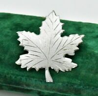 Vintage Sterling silver brooch pin Maple leaf Art Nouveau statement #W551