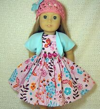 """Doll Clothes Pink Flower Butterflies Dress Shrug Hat 3pc fits American Girl18""""*t"""