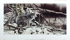 "GEOFF TAYLOR ""Winter Pause"" wolf snow SIGNED ltd ed! SIZE:39cm x 68cm NEW RARE"