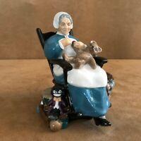 Royal Doulton Nanny Porcelain Figurine HN 2221 woman rocking chair bear sewing