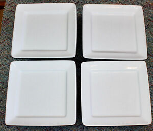 """4 lot Oneida Buffalo A-10 Bright White 9.25"""" Porcelain Square salad lunch Plate"""
