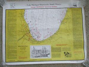 Vintage 1979 LAKE MICHIGAN Dive Chart Shipwrecks Salvage Map Poster maritime