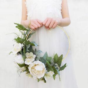 Artificial Rose Flower Metal Wreath Garland Hoop Ring Wedding Bridal DIY Decor