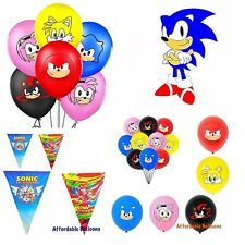 Sonic the hedgehog party latex balloons. Sonic the hedgehog bunting decorations