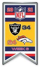 2021 Semaine 6 Bannière Broche NFL Las Vegas Raiders Vs.Denver Super Bol Relié
