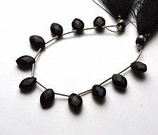"""Best BLACK Chalcedony Faceted OVAL SHAPE Briolettes Beads 10 - 11 MM  6"""" STAND"""
