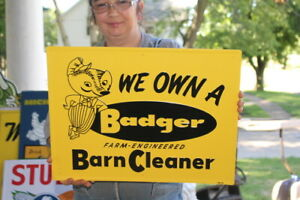 """Badger Barn Cleaner Cow Pig Chicken Feed Farm 20"""" Embossed Metal Sign~Nice"""