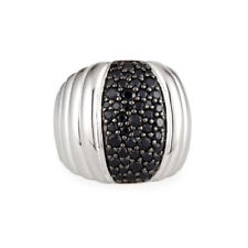 JOHN HARDY Bedeg Silver Lava Dome Ring with Black Sapphire Size 7
