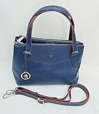 ILEX LONDON NAVY BLUE LEATHER SHOULDER / CROSSBODY BAG WITH RED TRIM FREE UK P&P