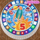 PRECUT EDIBLE ICING CAKE TOPPER 7.5 INCH HAPPY 5TH BIRTHDAY SPACE ROCKET SR005