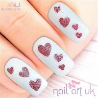Glitter Pink Heart Adhesive Nail Art Stickers Decorations Decals