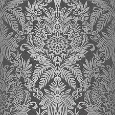 Signature Black and Silver Damask Wallpaper by Crown Floral Leaf Feature M1065