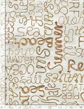 Nautical Fabric - Welcome Beach Rope Words Natural - Timeless Treasures YARD