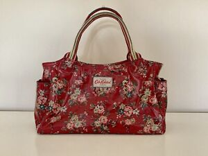 Cath Kidston Red Floral Day Bag Pvc Coated Cotton