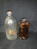 Vintage Lot Parsons Ammonia  Dark Brown Glass Lysol  Empty Bottle Clear