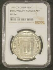 1956 Colombia Peso 200th Year Popayan Mint Silver Coin - NGC MS 66
